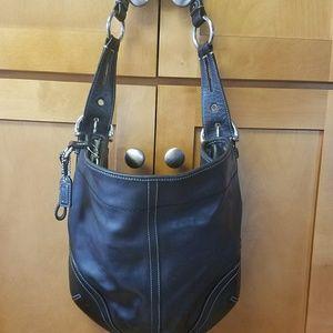 Coach Bags - Coach Black Leather Shoulder Hobo Bag